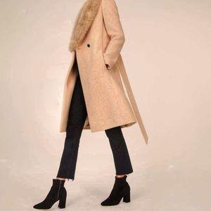 Club Monaco Cashmere Wool Coat Removable Collar